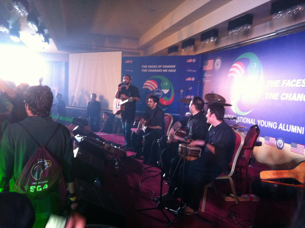 The band Khumariyaan give an electrifying performance as part of the US Embassy Islamabad's International Youth Alumni Conference